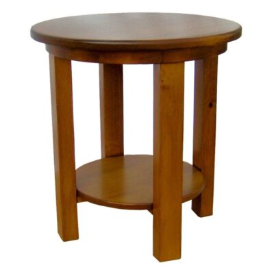 JW 180-9 Round End Table with shelf