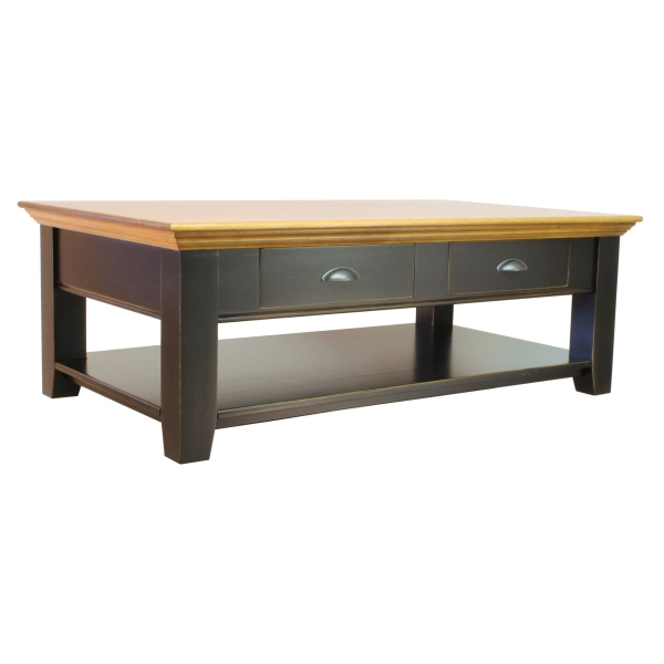 JW 190-4D-MS Coffee Table with 2 go through drawers, shelf and crown molding
