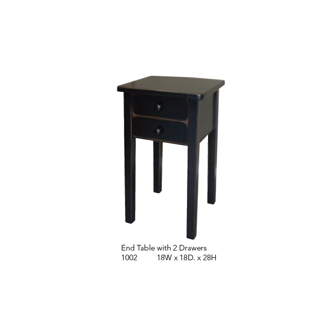 1002 End Table with 2 Drawers