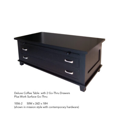 1006-2 Deluxe Coffee Table with 2 Go-Thru Drawers and Work Surface