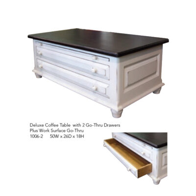 1006-2 Deluxe Coffee Table with 2 Go-Thru Drawers and Work Surface White