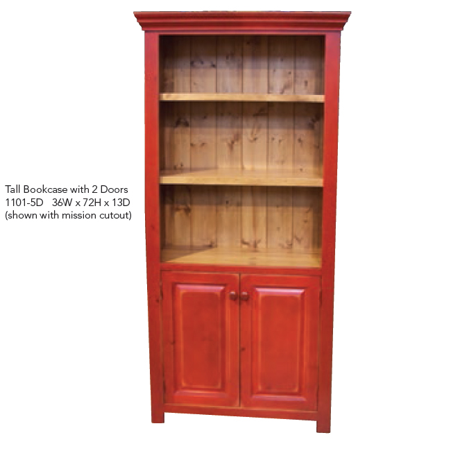 1101-5D Tall Bookcase with 2 Doors
