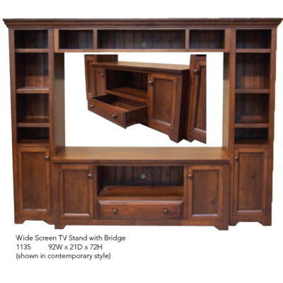 1135 Wide Screen TV Stand with Bridge