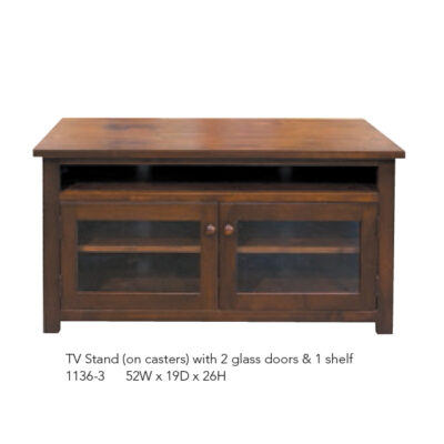1136-3 TV Stand with 2 Glass Doors and 1 Shelf