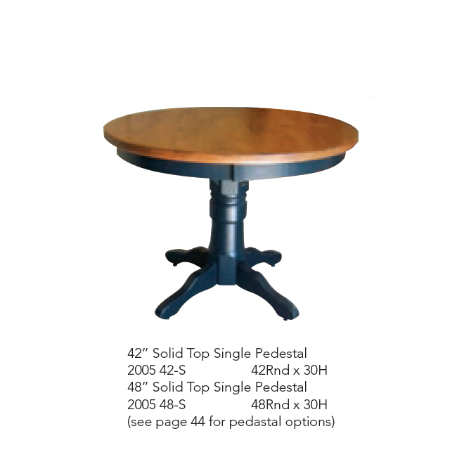 2005-42-S 45 Inch Solid Top Sing Pedestal Table