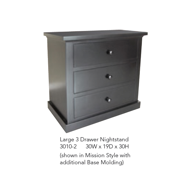 3010-2 Large 3 Drawer Nighstand